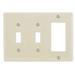 Hubbell Wiring NPJ226LA Bryant® Homeselect™ 3-Gang Combination Wallplate; (2) Toggle Switch, (1) Decorator, Screw Mount, Nylon, Light Almond