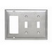 Pass & Seymour SS226 3-Gang Combination Wallplate; (2) Toggle Switch, (1) Decorator, Wall Mount, 302/304 Stainless Steel, Brushed, Smooth