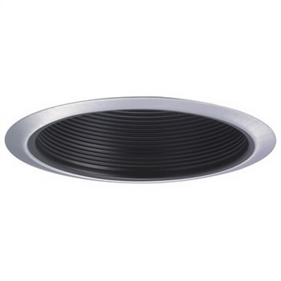 Nora NTM-30 6 Inch Stepped Baffle Trim With Ring; 75 Watt, Black Stepped Baffle With White Plastic Ring