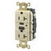 Hubbell Wiring GFR8300RTR Circuit Guard® Tamper Resistant Decorator GFCI Duplex Receptacle; 20 Amp, 125 Volt AC, 2-Pole, 3-Wire, NEMA 5-20R NEMA, Screw Mount, Black