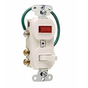 Pass & Seymour 695-WG 3-Way Combination Switch and Single Pilot Light; 120 Volt AC, 15 Amp, 1-Pole, Grounding, Wall Mount, White