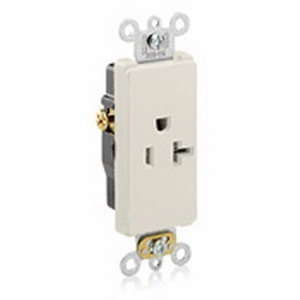 Leviton 16341-T Decora Plus™ Straight Blade Single Receptacle; 2-Pole, 3-Wire, 20 Amp, 125 Volt, NEMA 5-20R, Wall Box Mount, Self-Grounding, Light Almond