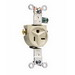 Pass & Seymour 5371-I Single Receptacle; 2-Pole, 3-Wire, 20 Amp, 125 Volt, NEMA 5-20R, Wall Mount, Ivory