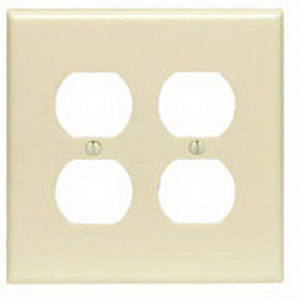 Leviton PJ82 2-Gang Duplex Receptacle Wallplate Device Mount  Thermoplastic Nylon  Smooth  Brown