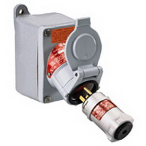 Appleton EFSC275-20232 U-Line Pin and Sleeve Receptacle 20 Amp  250 Volt AC  3-Pole  2-Wire  1/2 Inch Feed-Thru Hub