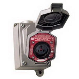 Cooper Crouse-Hinds ENRC22202 ArkGard 2-Gang Interlock Receptacle Assembly 20 Amp  250 Volt  3/4 Inch Through Feed Hub