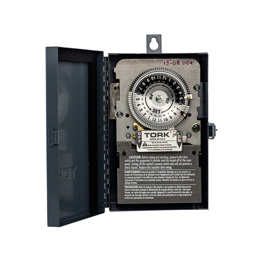 NSI 1104B-O Tork® 1100 Series Time Switch; 40 Amp, 208 - 277 Volt AC, 24 Hour, DPST