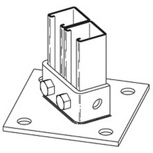 Cooper B-Line B281A-ZN Post Base; ASTM A907 Steel, Electro-Plated Zinc, (4) 3/4 Inch Hole Base Mounting