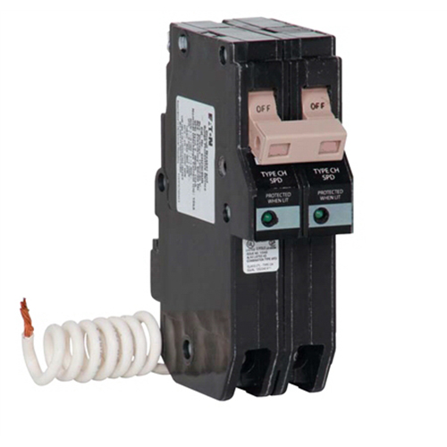 Eaton / Cutler Hammer CH250SUR Double-Pole Surge Breaker; 50 Amp, 240 Volt, 2-Pole, Plug-In Mount