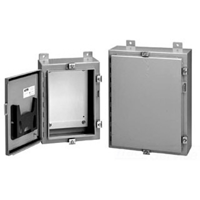 Hoffman Pentair A30H20ALP Equipment Protection Enclosure; 14 Gauge Steel, ANSI 61 Gray, Wall Mount, Continuous Hinge With Removable Pin, Padlockable Hasp and Staple Cover