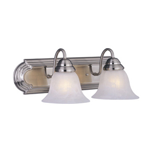 Maxim 8012MRSN Essentials 801x Collection 2-Light Wall Mount Incandescent Bath Vanity; 100 Watt, Satin Nickel