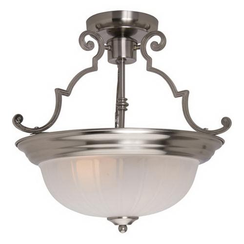 Maxim 5833FTSN Essentials Collection 2-Light Ceiling Semi-Flush Mount Incandescent Light Fixture; 200 Watt, Satin Nickel, No