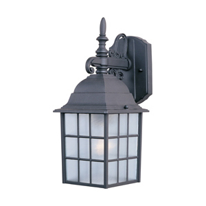 Maxim 1051BK North Church Collection 1-Light Incandescent Wall Lantern; 100 Watt, Black Painted