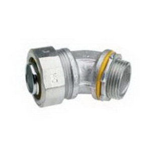 Midwest LT20045G Liquidator™ 45 Degree Liquidtight Conduit Connector With Aluminum Grounding Lug; 2 Inch, Threaded, Malleable Iron, Electro-Plated Zinc