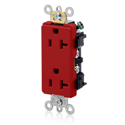 Leviton 16352-R Decora Plus™ Straight Blade Duplex Receptacle; 2-Pole, 3-Wire, 20 Amp, 125 Volt, NEMA 5-20R, Wallplate Mount, Self-Grounding, Red