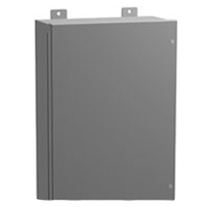 Hammond 1418JC9 Enclosure With Clamp; 14 Gauge Steel, ANSI 61 Gray, Wall Mount, Hinged Cover