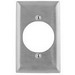 Hubbell Wiring SS723L 1-Gang Single Receptacle Wallplate; (1) Receptacle, Screw Mount, 430 Stainless Steel, Brushed