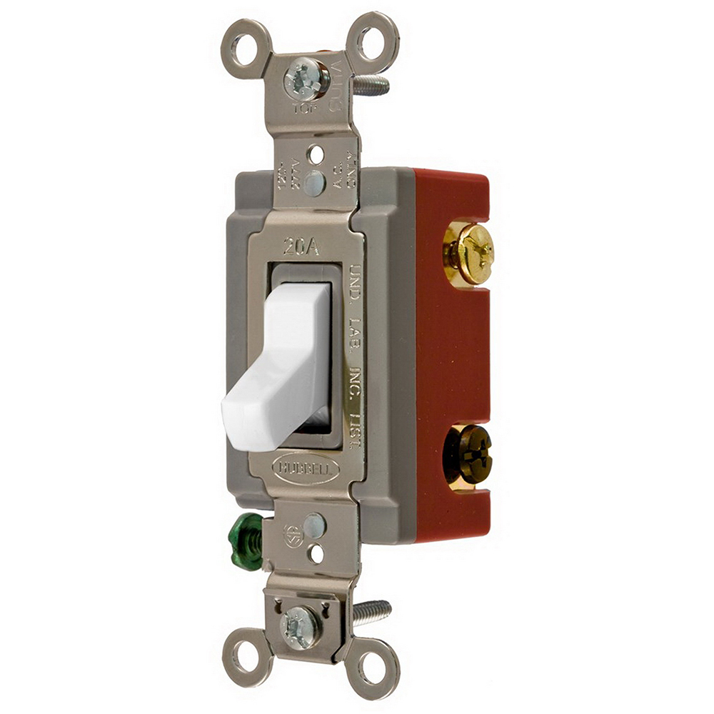 Hubbell Wiring CS1224WU AC Toggle Switches 4-Way Toggle Switch; 120/277 Volt AC, 20 Amp, White