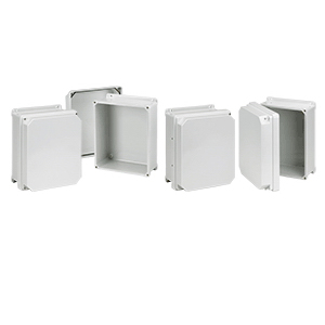 Hoffman RHJ1210WLG J-Series Enclosure 6.16 Inch Depth  Fiberglass  Light Gray  Overlapping Cover