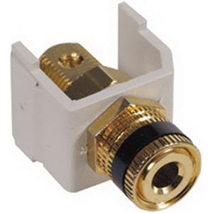 Hubbell Premise SFSPGBKW iSTATION Speaker Post AV Connector Brass Connector  Flame Retardant Polymer Housing  White