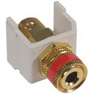 Hubbell Premise SFSPGRW iSTATION Speaker Post Module Brass Connector  White