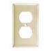 Hubbell Wiring P8OW 1-Gang Duplex Receptacle Wallplate; (1) Duplex Receptacle, Nylon, Smooth, Office White