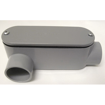 Cantex 5133653 Type LR Conduit Body With Removable Cover; 1-1/4 Inch Hub, Rigid PVC, Zinc-Plated Steel Screws, Gray