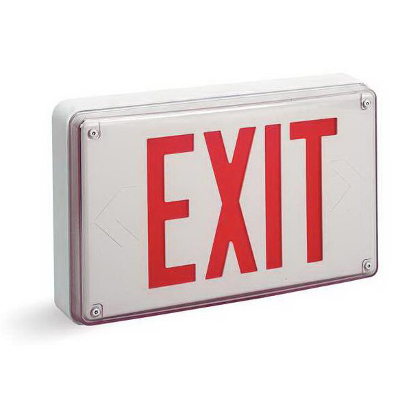 Lithonia Lighting / Acuity LV-S-W-1-R-120/277-EL-N-UM LED LV Series Emergency Exit Sign 18.2 Watt At 120 Volt  16.6 Watt At 277 Volt  120/277 Volt  Sealed Nickel Cadmium  White On White Housing  Red Letter