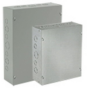 Hoffman ASE24X12X12NK Pull Box; 12 Inch Depth, 16, 14/12 Gauge Steel, Gray, Wall Mount, Screw Cover