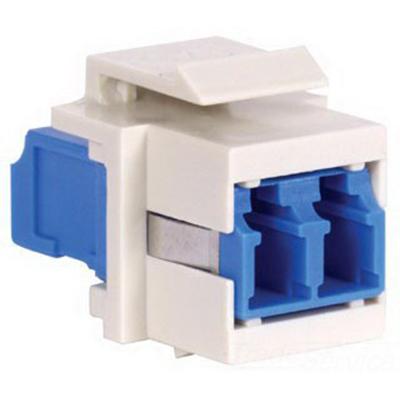 Hubbell Premise SFFLCSAQBK OptiChannel™ Fiber Optic Keystone Adapter; Multimode/Singlemode, 125 um, Snap-In Mount, Ceramic, Black