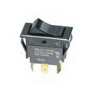 NSI 77140RQ Rocker Switch; SPST, 125/250 Volt AC, 15/10 Amp, Black