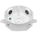 RAB VXCW-3/4 Round Weatherproof Wiring Box; 4.125 Inch Top Width x 5.500 Inch Bottom Width x 1.625 Inch Depth, 2 Outlet, Precision Die-Cast Aluminum, White, (2) Lugs Wall/Ceiling Mount