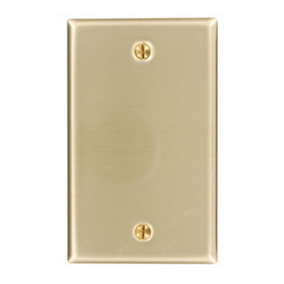 Leviton 81014 1-Gang Blank Wallplate; Box Mount, Brass