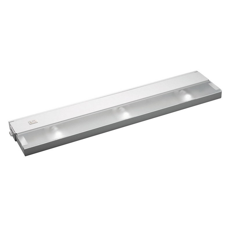 Kichler 12213WH Modular Line Voltage Xenon Collection 3-Light Xenon/Krypton Cabinet Strip/Bar Light; 20 Watt, 120 Volt, Bi-Pin, White, Steel, Frosted Glass Lens