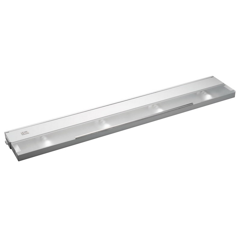 Kichler 12214WH Modular Line Voltage Xenon Collection 4-Light Xenon/Krypton Cabinet Strip/Bar Light; 20 Watt, 120 Volt, Bi-Pin, White, Steel, Frosted Glass Lens