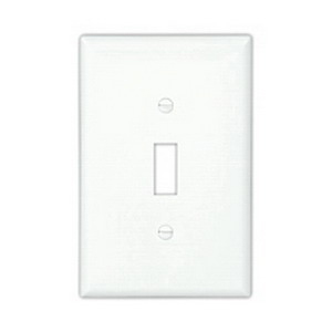 Cooper Wiring PJ4W 4-Gang Toggle Switch Wallplate; Screw Mount, Polycarbonate, High Gloss, White