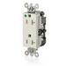 Leviton 16362-SGT Decora Plus™ Straight Blade Hospital Grade Duplex Receptacle; 20 Amp, 125 Volt, 2-Pole, 3-Wire, NEMA 5-20R NEMA, Wall Box Mount, Light Almond