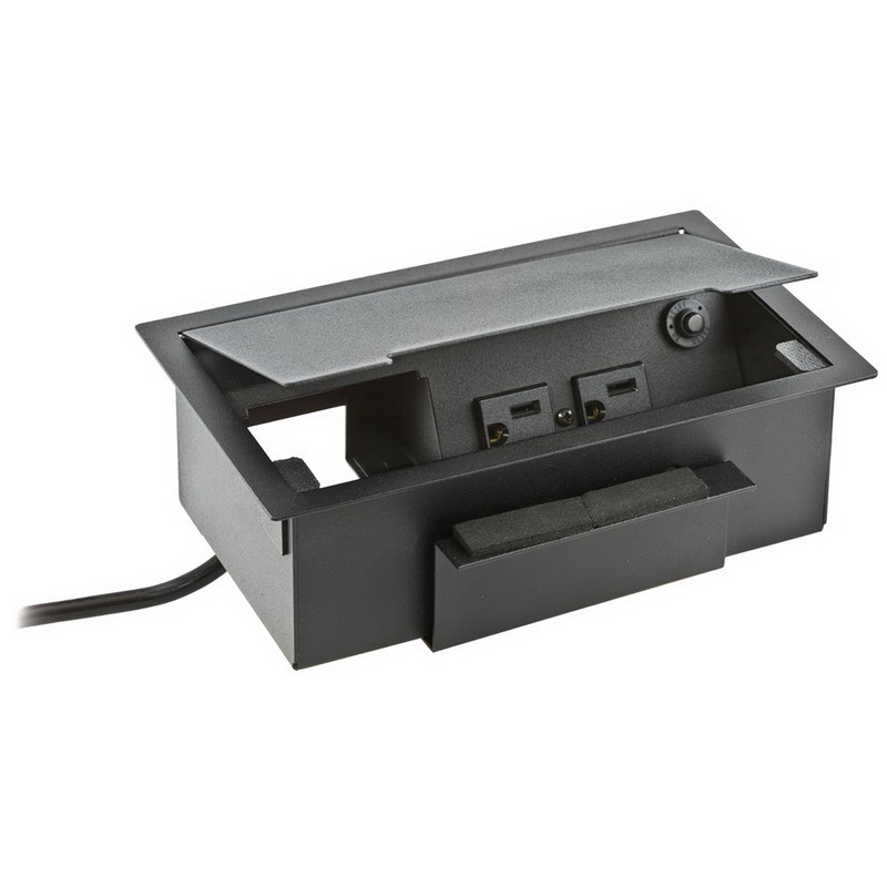 Hubbell Wiring WSBBHWBK Rectangular Work Surface Box Composite  Black  Furniture Mount