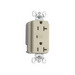 Pass & Seymour 5352-ISP Surge Protective Duplex Receptacle; 2-Pole, 3-Wire, 20 Amp, 125 Volt AC, NEMA 5-20R NEMA, Wall Mount, Isolated, Ivory