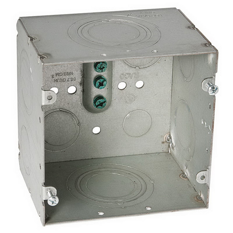 Hubbell Electrical / RACO 260 Square Box; 4-11/16 Inch Height x 4-11/16 Inch Width x 3-1/4 Inch Depth, Steel, 66.7 Cubic-Inch, 12 Knockouts
