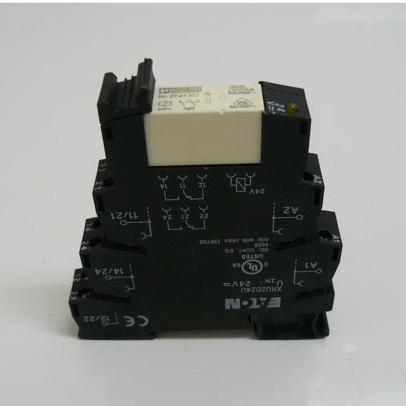 Eaton / Cutler Hammer XRU2D24U XR Series Terminal Block Relay; 6 Amp, 24 Volt AC/DC, Screw, DIN Rail Mount