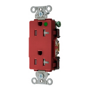 Hubbell Wiring 2182REDTR Style Line® Hubbell-Pro™ Straight Blade Duplex Receptacle; 20 Amp, 125 Volt, 2-Pole, 3-Wire, NEMA 5-20R NEMA, Screw Mount, Red