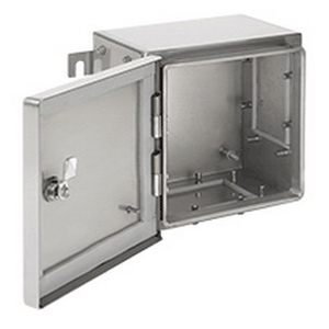 Hoffman ATEX453816SS63 Zonex & trade Enclosure With Three Gland Plates 316 Stainless Steel Panel Mount Lift-Off Hinge Cover