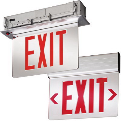 Lithonia Lighting / Acuity EDGR-1-R-EL-M4 Edge-Lit LED Emergency Exit Sign; 3.8 Watt At 120 Volt, 4.5 Watt At 277 Volt, 120/277 Volt, Sealed Nickel Cadmium, Brushed Aluminum, Red Letter