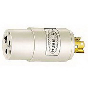 Hubbell Wiring HBL2274 Twist-Lock® Convenience Adapter; 15 Amp Male End, 20 Amp Female End, 125 Volt, 2-Pole, 3-Wire, White