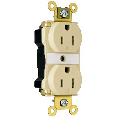 Pass & Seymour PTTR62-W PlugTail Tamper Resistant Duplex Receptacle 2-Pole  3-Wire  15 Amp  125 Volt AC  NEMA 5-15R NEMA  Wall Mount  Nylon Face and Back Body
