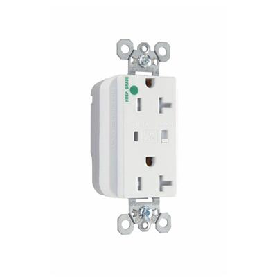 Pass & Seymour PTTR8200-WSP PlugTail Hospital Grade Surge Protective Duplex Receptacle 15 Amp  125 Volt AC  2-Pole  3-Wire  NEMA 5-15R NEMA  White