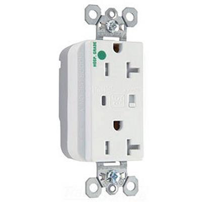 Pass & Seymour PTTR8300-WSP PlugTail Hospital Grade Surge Protective Duplex Receptacle 20 Amp  125 Volt AC  2-Pole  3-Wire  NEMA 5-20R NEMA  White