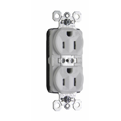 Pass & Seymour PTTR5262-W PlugTail Tamper Resistant Duplex Receptacle 2-Pole  3-Wire  15 Amp  125 Volt AC  NEMA 5-15R NEMA  Wall Mount  Nylon Face and PVC Back Body