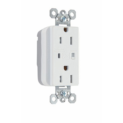 Pass & Seymour PTTR5262-WSP PlugTail Tamper Resistant Surge Protective Duplex Receptacle 2-Pole  3-Wire  15 Amp  125 Volt AC  NEMA 5-15R NEMA  Nylon Face and Body